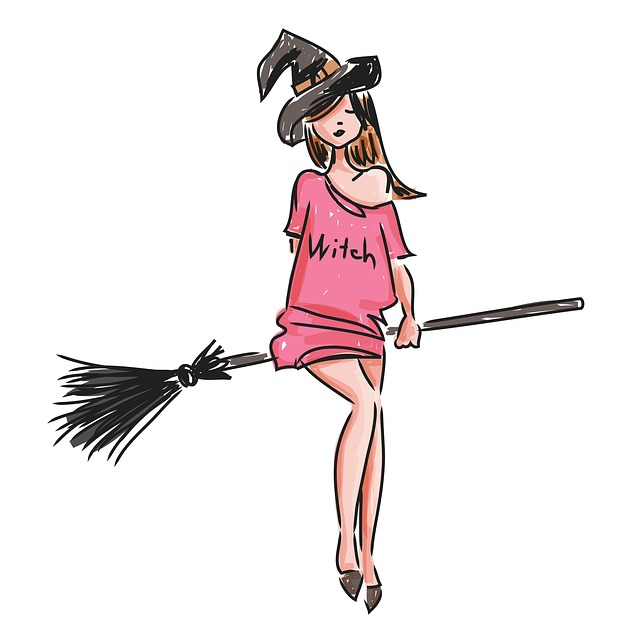 Witch, Hollowin, Broom, Hat, Costume, Masquerade, Young