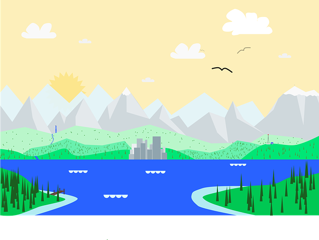 Material, Design, Google, Landscape, City, Lake
