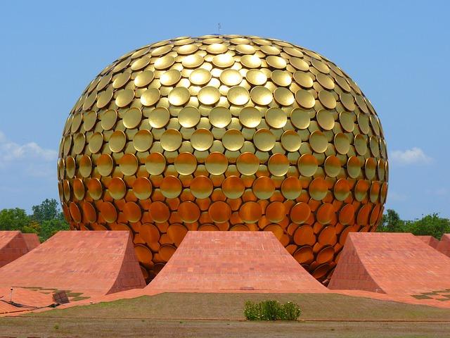 Ashram, Matri Mandir, Gold, Golden Dome, Auroville