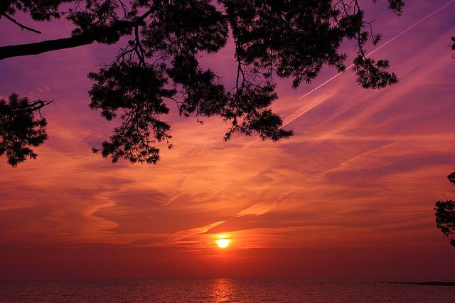 Sunset, Matsi Beach, Summer, Orange Sky, Purple Sky