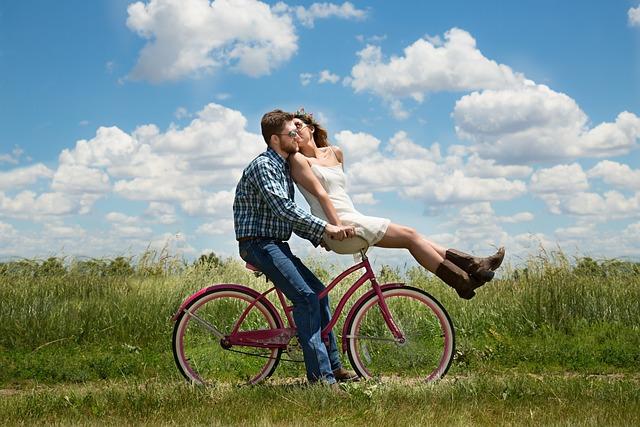 Couple, Romance, Bike, Bicycle, Meadow, Field, Happy