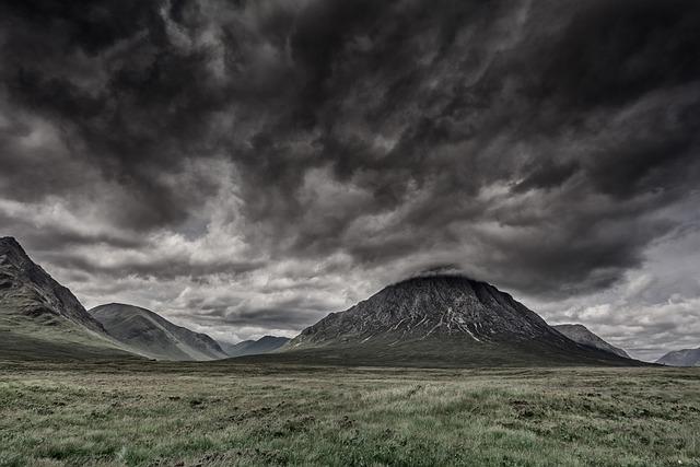 Cloudy, Mountains, Field, Meadow, Grass, Grasslands
