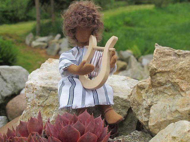David, Figure, Harp, Stones, Plant, Meadow