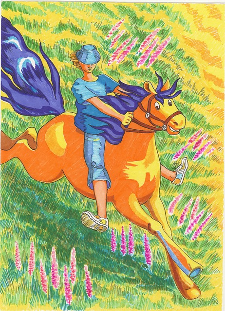 Felt-tip Pen Drawing, Figure, Horse, The Ride, Meadow