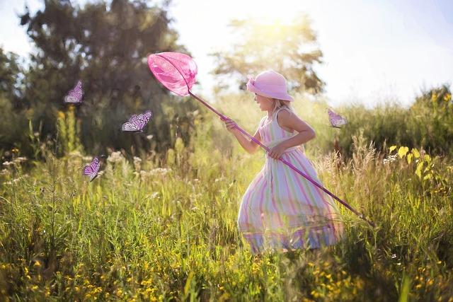 Chasing Butterflies, Little Girl, Wildflowers, Meadow