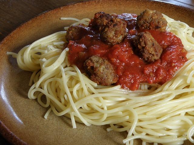 Spaghetti, Meatballs, Pasta, Lunch, Italian Food