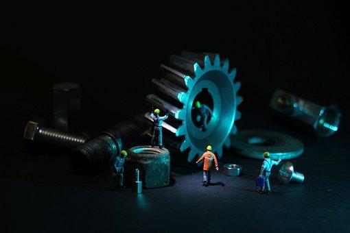 Mechanical Engineering, Gear, Miniature Figures