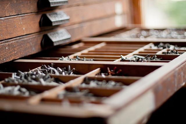 Metal Type, Lead, Vintage, Mechanical, Old, Drawer