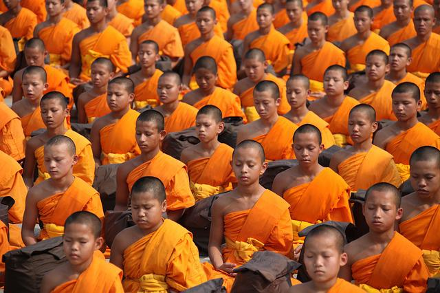 Buddhists, Monks, Meditate, Thailand, Buddhism