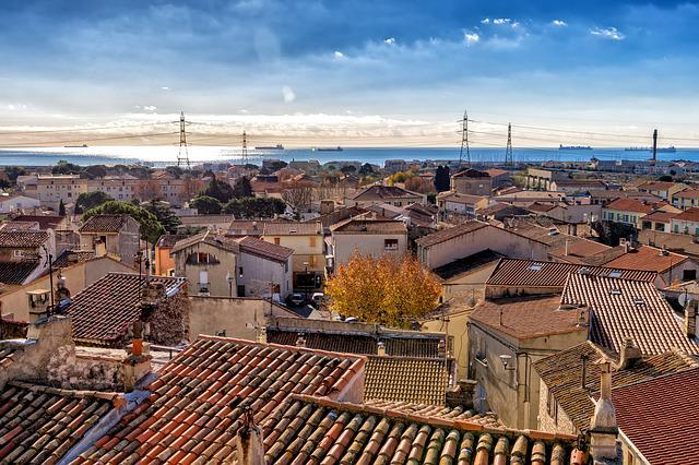 Roofs, City, France, Fos-sur-mer, Mediterranean