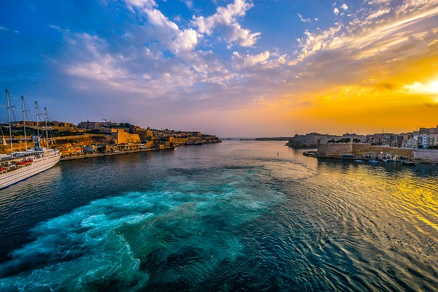 Malta, Harbor, Sunset, Sky, Sea, Mediterranean, Bay