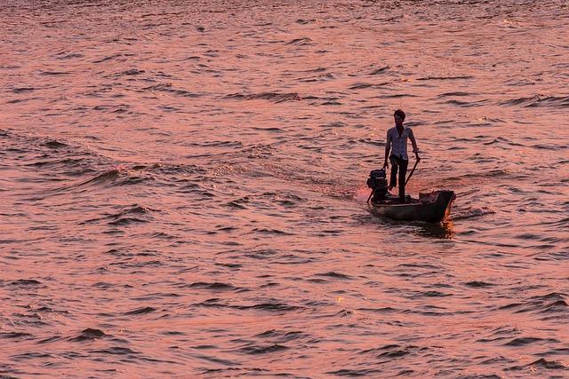 Vietnam, Mekong River, Evening Sun, Golden Hour, River
