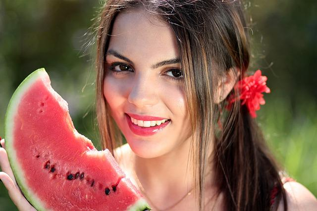 Girl, Melon, Red, Summer, Beauty, Nature