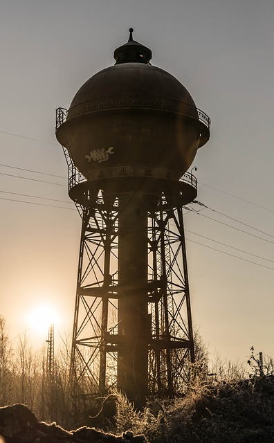 Tower, Water Tower, Memory, Backlighting, Architecture
