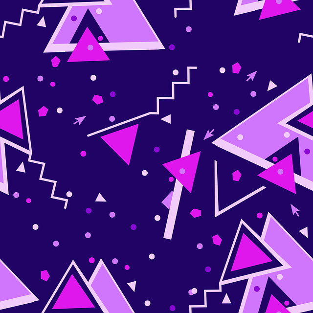 Purple, Blue, Geometric, Pattern, Memphis, Confetti
