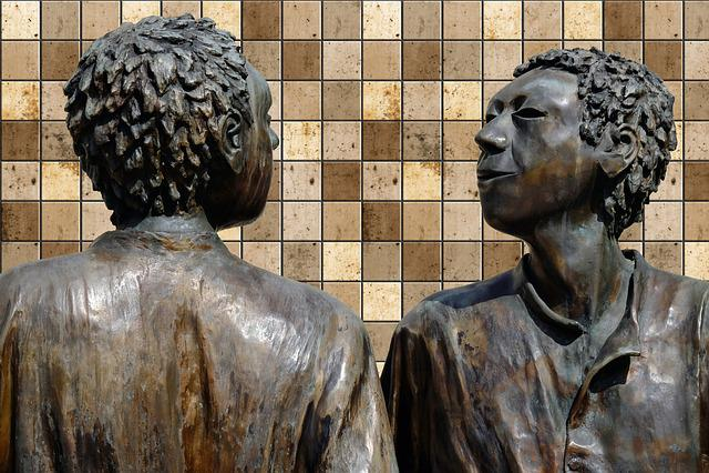 Sculpture, Bronze, Meeting In The Circle, Figures, Men