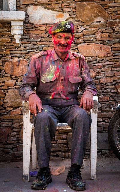 Man, Guard, Security, Festive, Holi, Colors, Face, Men