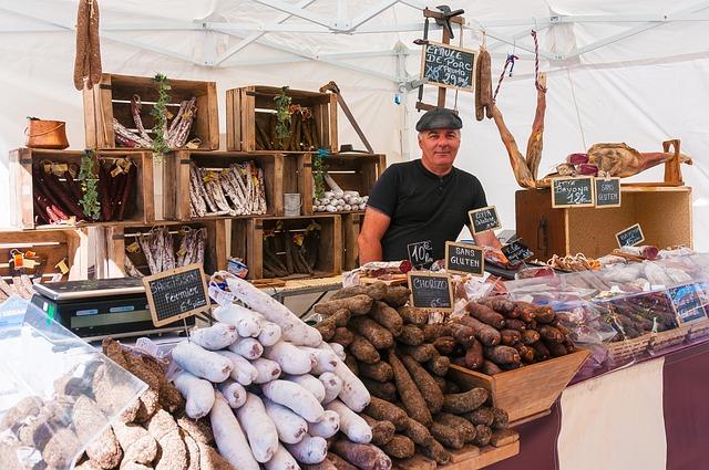 Market, Stall, Sausage, Carny, Merchant, Delicatessen