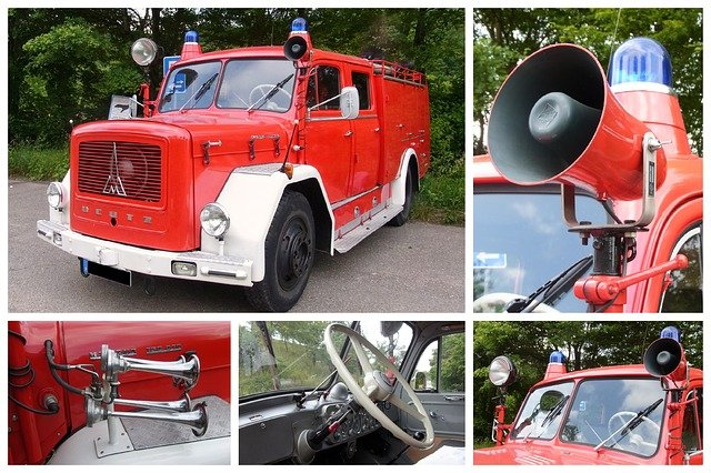 Collage, Fire, Fire Truck, Magirus Deutz, Mercur