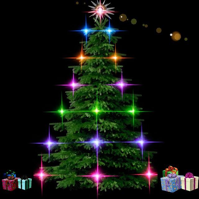 Fir, Christmas, Lights, Decorations, Merry Christmas