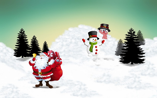 Merry Christmas, Santa Claus, Snowman, Christmas, Red