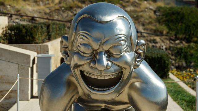 Art, Sculpture, Metal, Silver, Chrome, Laughing Boy