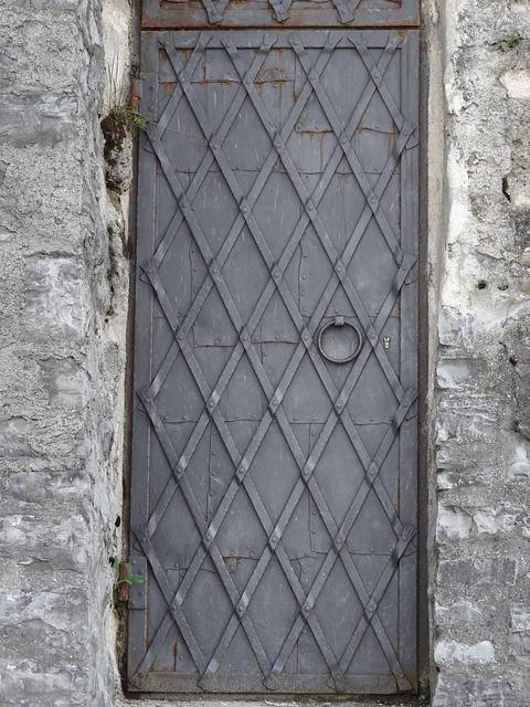 Metal, Door, Hinge, Secure, Entrance, Narrow, Doorway