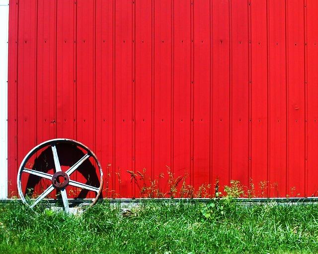 Wheel, Wall, Red, Hut, Prefab, Plates, Metal