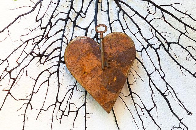 Heart, Metal, Rusted, Key, Love, Arts Crafts