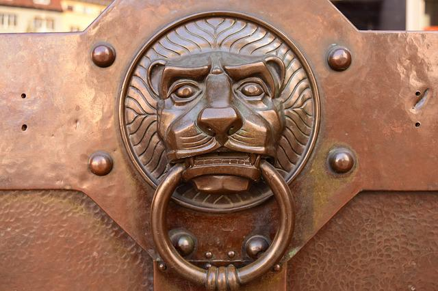 Doorknocker, Lion Head, Brass, Metal, Input, Door, Old