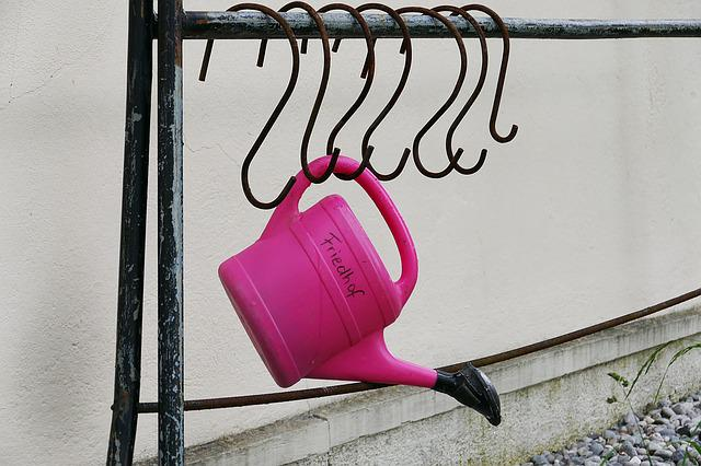 Watering Can, Pink, Frame, Hook, Iron, Metal, Old