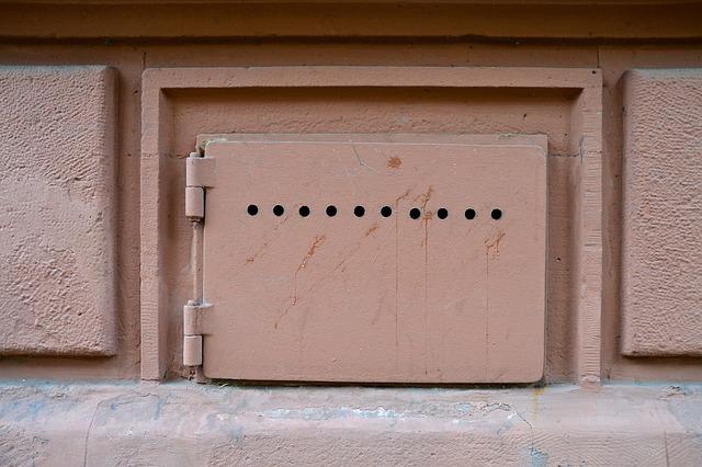 Closed, Locked, Basement, Metal Plate, Art Nouveau