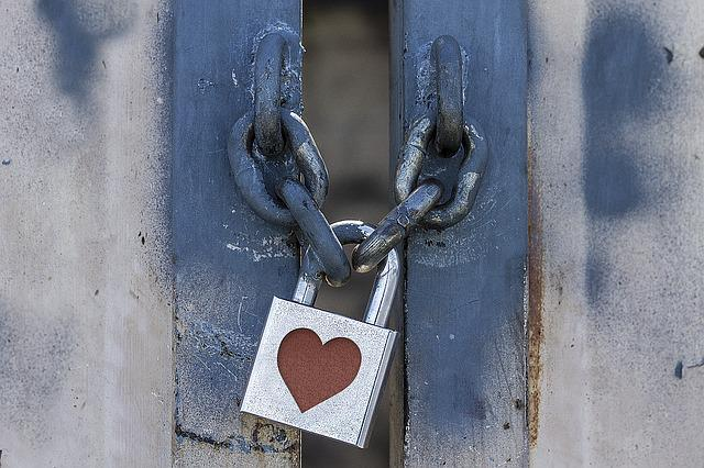 Lock, Padlock, Heart, Metal, Grunge, Spray Paint