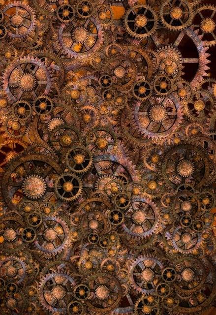 Steampunk, Background, Gears, Rust, Copper, Metal