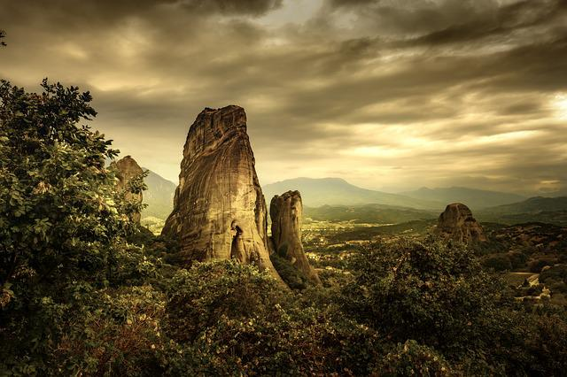 Meteora, Rock, Sunset, Greece, Monastery, Landscape