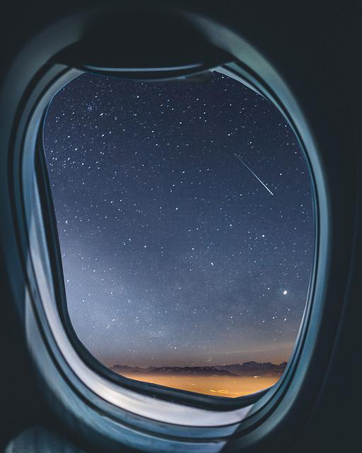 Airplane, Window, Milkyway, Shootingstar, Meteorid