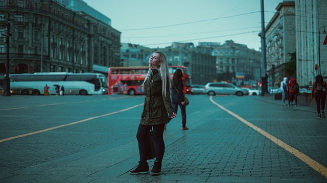 Girl, Red Bus, Moscow, Russia, Roof, The Kremlin, Metro