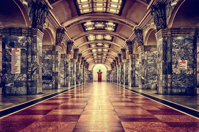 Railway Station, Metro, St Petersburg, Russia