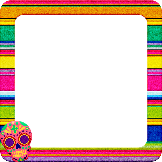Day Of The Dead Frame, Sugar Skull, Mexican Blanket