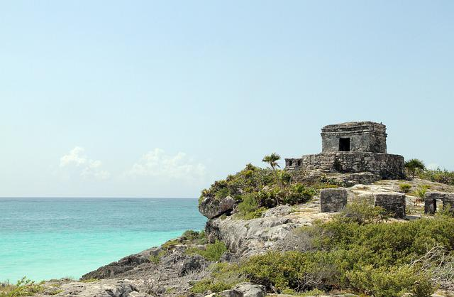 Tulum, Mexico, Ancient Ruins, Shore, Stone, Ocean