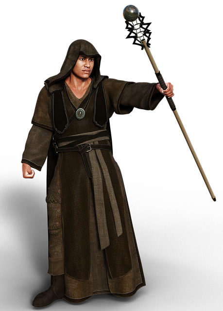 Man, Coat, Fantasy, Middle Ages, Magician, Hood, Wand