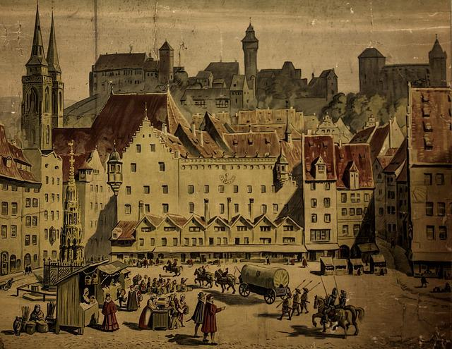 Painting, Middle Ages, Nuremberg, Main Market, Old Town