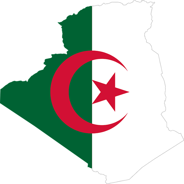 Algeria, Arab, Borders, Country, Flag, Map, Middle East