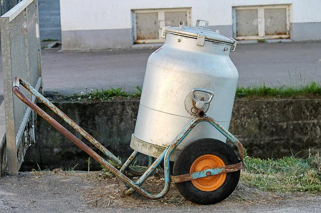 Milk Can, Frame, Mobile, Milk, Alukessel, Dairy Farming