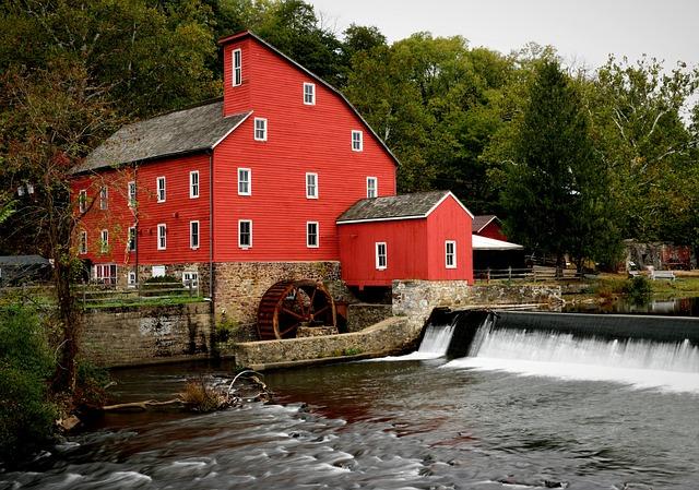 Clinton Nj, Nj, Red Mill, Old, Mill, Vintage, Energy