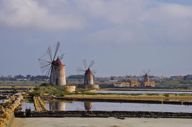 Mill, Salina, Sicily, Marsala, Water, Wind