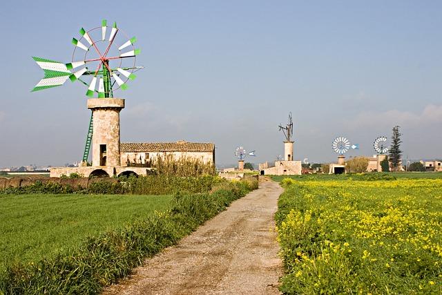 Mill, Wind, Balearic Islands, Mallorca, Landscape