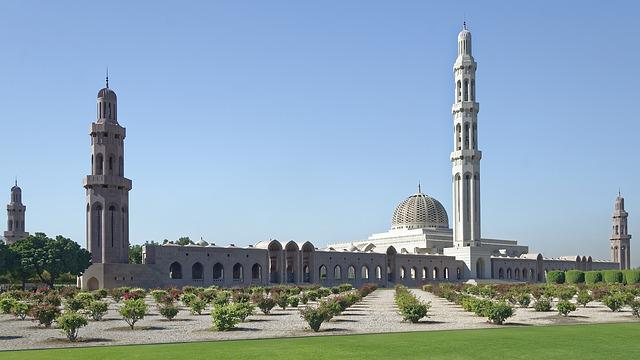 Oman, Muscat, Sultan Qaboos Grand Mosque, Minaret