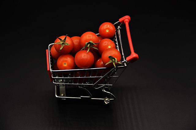 Shopping Cart, Miniature, Tomatoes, Food, Vegetables