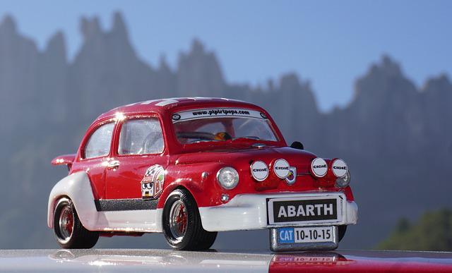 Miniature, Seat, Six Hundred, Abarth, Red, Vintage